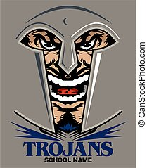 trojans mascot team design with face inside helmet for school, college or league