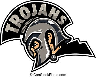 trojans team design with trojans written inside the crest of a helmet for school, college or league