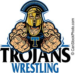 trojans wrestling team design with muscular mascot for school, college or league