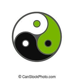 trojitý, znak, yang, yin