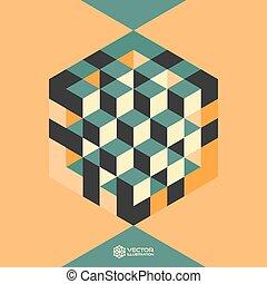 trojmocnina, forma, šestiúhelník, inscribed.