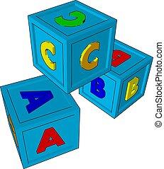 trojmocnina, ilustrace, neposkvrněný, hračka, vektor, grafické pozadí.