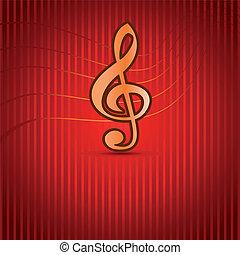 Trojnásobný, Hudba, klíč, červeň, Grafické Pozadí
