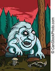 troll, arrabbiato, foresta