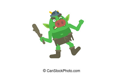 Troll character holding club and angry. Transparent background. Loop animation. Motion graphics
