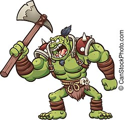 Troll chief - Angry cartoon troll chief. Vector, clip art...