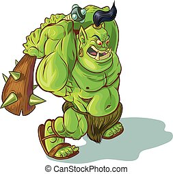 troll, elevato, o, orco, club, cartone animato, vettore, orc