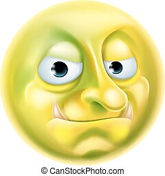 An illustration of a troll emoji emoticon character, could be an internet or forum troll