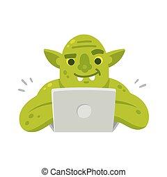 troll, ordinateur portable, internet