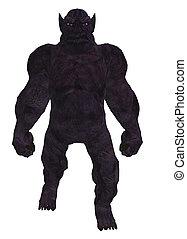 Troll Silhouette - Black silhouette of a troll standing