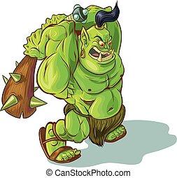 troll, verheven, of, ogre, club, spotprent, vector, orc