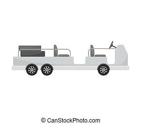 trolley., bagage, autopropulsé, illustration, arrière-plan., vecteur, blanc