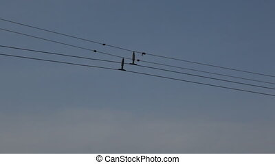 Trolley bus wires - Trolley wires and a trolleybus passing...