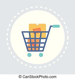 trolley cart with cardboard boxes shopping icon concept flat