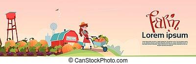 trolley, datter, bønder, grønsager, lille, pige, greb, høst