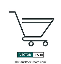 Trolley flat icon vector. Line style. Isolated on white. Vector Illustration EPS 10
