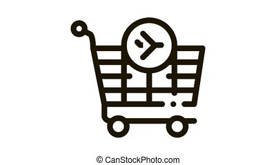 trolley for duty free products Icon Animation. black trolley for duty free products animated icon on white background