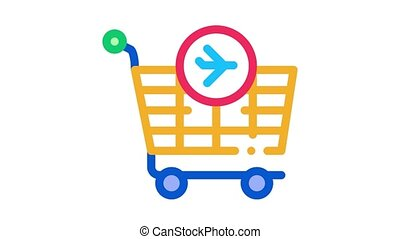 trolley for duty free products Icon Animation. color trolley for duty free products animated icon on white background