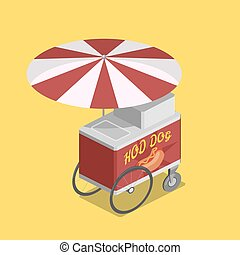 Trolley for hot dogs isometric vector illustration - Trolley...