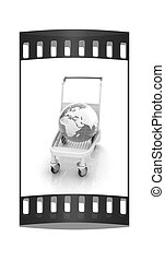 Trolley for luggage at the airport and earth. International tourism concept. The film strip