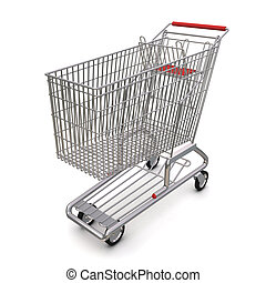 trolley from the supermarket. 3d rendering on white background