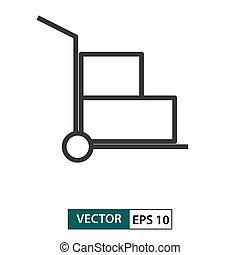 Trolley icon. Outline style. Vector illustration EPS 10
