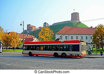 Trolley in Vilnius city street on October 12, 2014