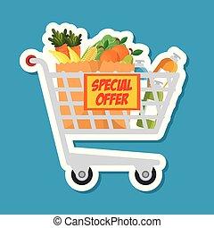 Velsete Gamle folk, supermarked, vektor, indkøb, cartoon. Trolley YH-25