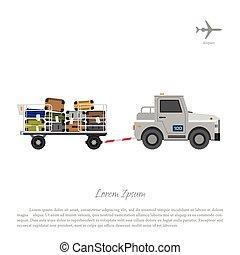 trolley., lading, luggage., hardloop wedstrijd, aeroport., airplanes., illustratie, vector, het vervoeren, voertuig, onderhoud, auto