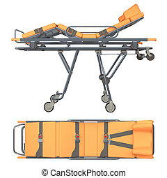 Trolley medic isolated on white 3d rendering