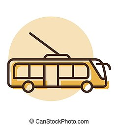 Trolley or trolleybus flat vector icon. Graph symbol for ...