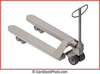 Trolley platform flat vector 3d - Trolley platform cart...