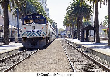 Trolley, San Diego, Santa Fe depot - The Santa Fe Depot in...