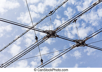 trolley trolleybus electricity cable lines - trolley...