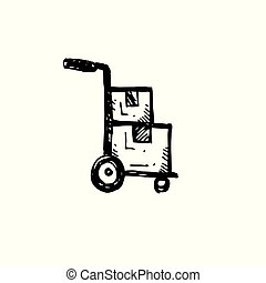 trolley, udkast, enkel, symbol., hånd, fødsel, vektor, sort baggrund, stram, hvid, illustrator., ikon