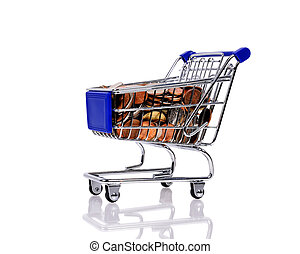 trolley with coins