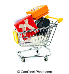 Trolley with gifts on a white background.
