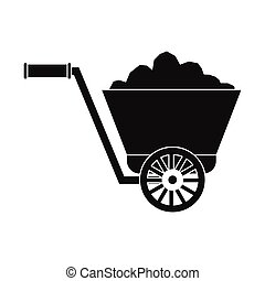 Trolley with ore black simple icon