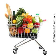 trolley with produce - metal shopping trolley isolated on...