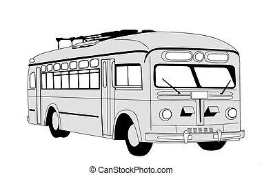 trolleybus, blanc, silhouette, fond