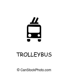 Trolleybus flat vector icon. Hand drawn style design ...
