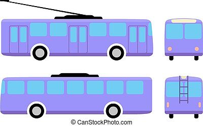 Trolleybus (front, back, side view) isolated on white background, vector illustration