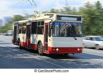 trolleybus going in the city - trolleybus going on the city ...