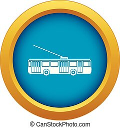 Trolleybus icon blue vector isolated