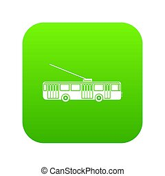 Trolleybus icon digital green for any design isolated on...