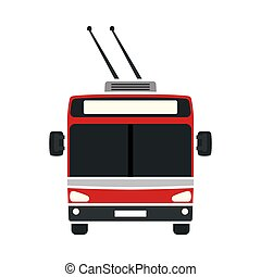 Trolleybus Icon. Flat Color Design. Vector Illustration.
