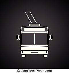 Trolleybus icon front view. Black background with white. ...