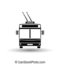 Trolleybus icon front view. Black on White Background With...