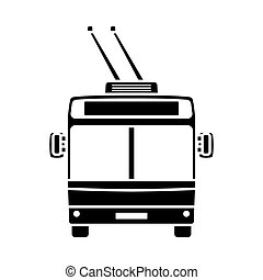 Trolleybus Icon Front View. Black on White. Vector...