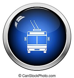 Trolleybus icon front view. Glossy Button Design. Vector...